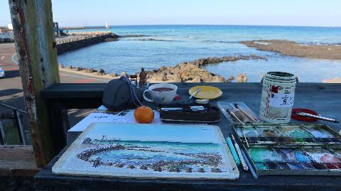 #제주 #제주가을 #세화해변 카페 #로빙화 에서 #어반스케치