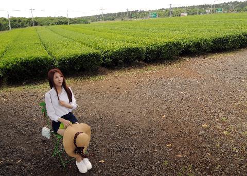 봄에 제주도 오설록뮤지엄에서 녹차밭을 배경으로 사진을 찍었다~~^^