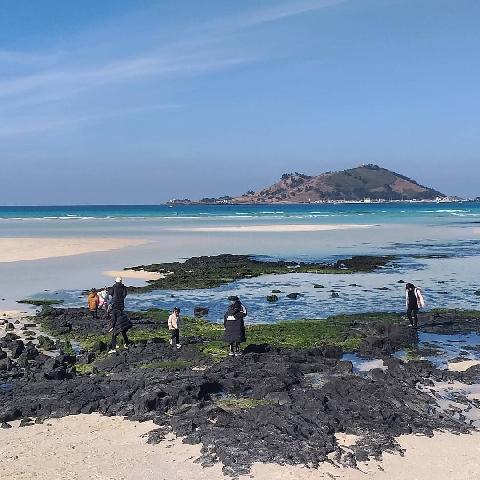 협재해변의 코발트색 바다 뒤로 보이는 아름다운 비양도